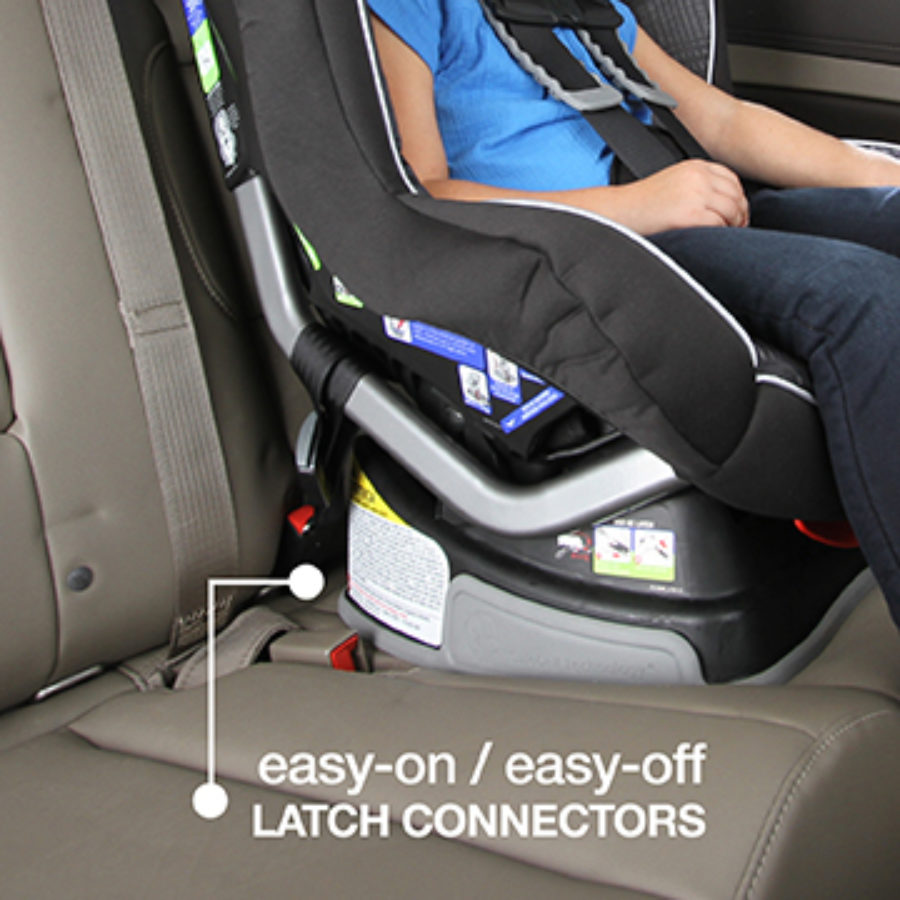 Easy On/Off LATCH Connectors shown with Convertible Car Seat