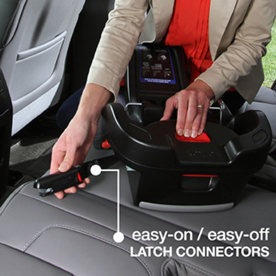 Easy On/Off LATCH Connectors shown with Infant Car Seat Base