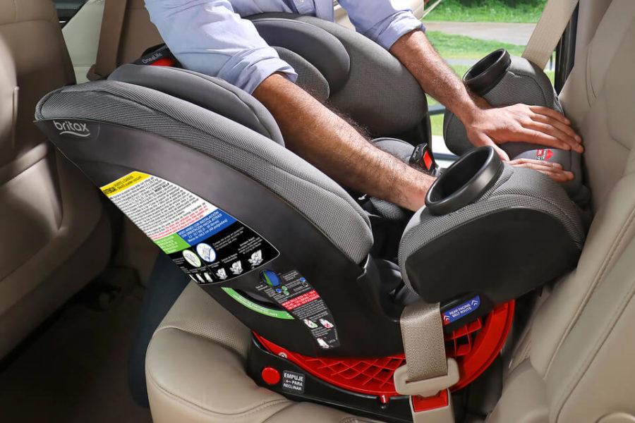 Parent Installing a One4Life Car Seat Rear-Facing
